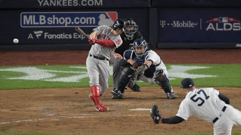 <p>               Boston Red Sox's Brock Holt connects for a two-run triple against the New York Yankees during the fourth inning of Game 3 of baseball's American League Division Series, Monday, Oct. 8, 2018, in New York. (AP Photo/Bill Kostroun)             </p>