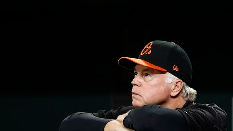 <p>               FILE - In this Friday, Sept. 28, 2018, file photo, Baltimore Orioles manager Buck Showalter watches from dugout railing in the second inning of a baseball game against the Houston Astros in Baltimore. Showalter has been fired as manager of the Orioles, he confirmed in a text message to The Associated Press on Wednesday, Oct. 3, 2018. (AP Photo/Patrick Semansky, File)             </p>