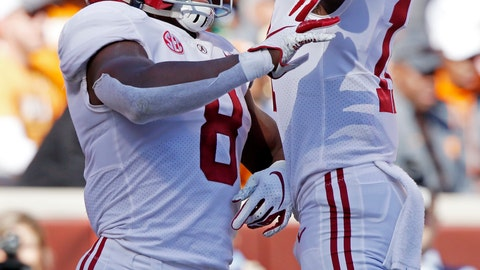 <p>               Alabama running back Josh Jacobs (8) celebrates a touchdown with teammate wide receiver Henry Ruggs III (11) in the first half of an NCAA college football game against Tennessee Saturday, Oct. 20, 2018, in Knoxville, Tenn. (AP Photo/Wade Payne)             </p>