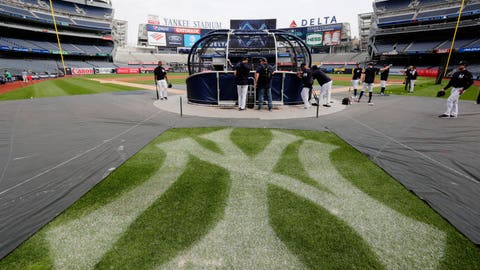 <p>               New York Yankees players take batting practice during a team workout before their upcoming American League wildcard baseball game against the Oakland Athletics Tuesday, Oct. 2, 2018, in New York. (AP Photo/Frank Franklin II)             </p>
