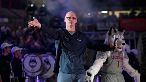 <p>               FILE - In this Friday, Oct. 12, 2018, file photo, Connecticut men's coach Dan Hurley is introduced during UConn's men's and women's basketball teams annual First Night celebration in Storrs, Conn. Hurley has brought a renewed sense of energy and optimism with him to UConn, but it's not clear how that will translate this season on the court. (AP Photo/Jessica Hill, File)             </p>
