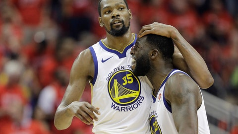 <p>               FILE - In this May 28, 2018, file photo, Golden State Warriors forward Kevin Durant (35) celebrates with teammate Draymond Green during the second half in Game 7 of the NBA basketball Western Conference finals against the Houston Rockets in Houston. A fifth straight trip to the NBA Finals would be an incredible feat. (AP Photo/David J. Phillip, File)             </p>