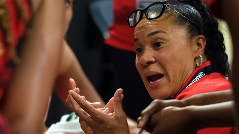 <p>               FILE - In this Sunday Sept. 30, 2018, file photo, United States coach Dawn Staley gives instructions to her players during the Women's basketball World Cup final match against Australia Tenerife, Spain. Staley began fall practice Thursday, Oct. 4, 2018,  hoping her experience leading the world's best players to a FIBA World Cup crown can help mold the young Gamecocks into a championship group.   (AP Photo/Andres Gutierrez, FIle)             </p>