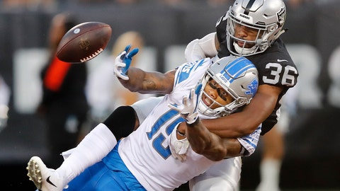 <p>               FILE - In this Aug. 10, 2018, file photo, Oakland Raiders cornerback Daryl Worley (36) breaks up a pass intended for Detroit Lions wide receiver Kenny Golladay during the first half of an NFL preseason football game, in Oakland, Calif. The Raiders struggling defense gets a boost this week with the return of cornerback Daryl Worley from suspension. (AP Photo/John Hefti, File)             </p>