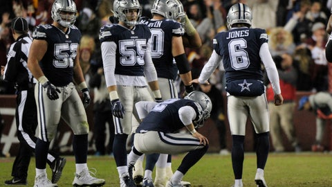 <p>               Dallas Cowboys kicker Brett Maher (2) reacts after missing a field goal in the closing seconds of an NFL football game against the Washington Redskins, Sunday, Oct. 21, 2018 in Landover, Md. (AP Photo/Mark Tenally)             </p>