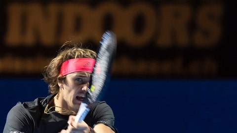 <p>               Germany's Alexander Zverev returns a ball to Holland's Robin Haase during their first round match at the Swiss Indoors tennis tournament at the St. Jakobshalle in Basel, Switzerland, on Wednesday, Oct. 24, 2018. (Georgios Kefalas/Keystone via AP)             </p>