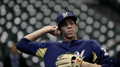 <p>               Milwaukee Brewers' Christian Yelich warms up before Game 1 of the National League Championship Series baseball game against the Los Angeles Dodgers Friday, Oct. 12, 2018, in Milwaukee. (AP Photo/Matt Slocum)             </p>