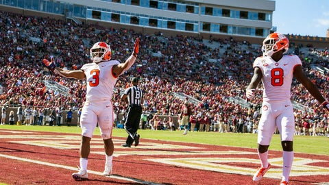 <p>               Clemson wide receiver Amari Rogers celebrates his 68-yard reception and run for a touchdown in the second half of an NCAA college football game against Florida State in Tallahassee, Fla., Saturday, Oct.27, 2018. Clemson defeated Florida State 59-10. (AP Photo/Mark Wallheiser)             </p>