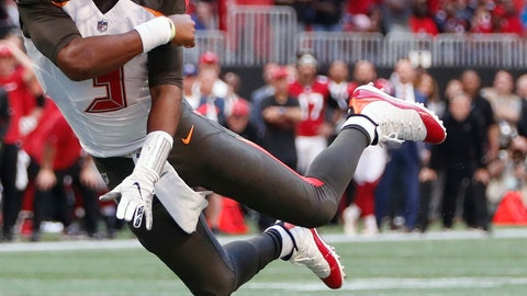 <p>               Tampa Bay Buccaneers quarterback Jameis Winston (3) tosses the ball against the Atlanta Falcons during the second half of an NFL football game, Sunday, Oct. 14, 2018, in Atlanta. The Atlanta Falcons won 34-29. (AP Photo/John Bazemore)             </p>