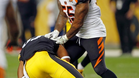 <p>               FILE - In this Oct. 22, 2017, file photo, Cincinnati Bengals outside linebacker Vontaze Burfict (55) shoves Pittsburgh Steelers tight end Xavier Grimble (85) to the ground as he attempts to get up after catching a pass during the second half of an NFL football game, in Pittsburgh. The Bengals had two 15-yard penalties that helped the Steelers win a playoff game at Paul Brown Stadium in the 2015 season. They set a club record with 173 yards in penalties as Pittsburgh rallied to pull another one out last December. The theme for this week: Keep cool when the Steelers come to town again. (AP Photo/Keith Srakocic, File)             </p>