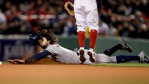 <p>               Houston Astros' Jake Marisnick steals second against the Boston Red Sox during the eighth inning in Game 1 of a baseball American League Championship Series on Saturday, Oct. 13, 2018, in Boston. (AP Photo/Charles Krupa)             </p>