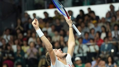 <p>               Daniil Medvedev of Russia celebrates after defeating Kei Nishikori of Japan during their single's final match at the Japan Open men's tennis tournament in Tokyo Sunday, Oct. 7, 2018. (AP Photo/Eugene Hoshiko)             </p>