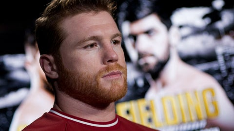 <p>               Canelo Alvarez is interviewed, Tuesday, Oct. 16, 2018, in New York. Alvarez is scheduled to fight WBA super middleweight boxing champion Rocky Fielding in New York in December. (AP Photo/Mark Lennihan)             </p>