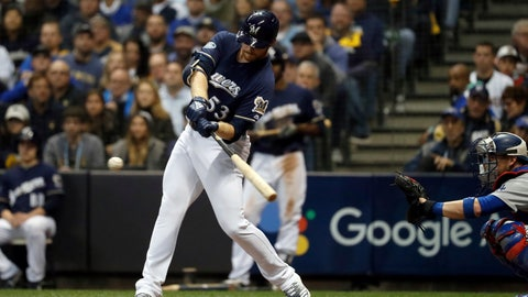 <p>               Milwaukee Brewers' Brandon Woodruff (53) hits a home run during the third inning of Game 1 of the National League Championship Series baseball game against the Los Angeles Dodgers Friday, Oct. 12, 2018, in Milwaukee. (AP Photo/Jeff Roberson)             </p>