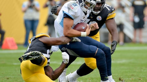 "<p>               FILE - In this Aug. 25, 2018, file photo, Tennessee Titans quarterback Marcus Mariota (8) is sacked by Pittsburgh Steelers linebacker Vince Williams (98) and defensive tackle Javon Hargrave (79) in the first half of an NFL football game, in Pittsburgh. Confident and rosy-eyed as Josh Allen might be, the Buffalo Bills quarterback understood he was going to take his fair share of lumps as a rookie starter this season. Allen needs only to refer to the struggles Tennessee Titans starter Marcus Mariota endured in going 3-9 during his rookie year in 2015. ""He was thrown into the fire early in his career, too,"" Allen said, referring to Mariota, whom the work-in-project Bills (1-3) will face in hosting the Titans (3-1) on Sunday.(AP Photo/Fred Vuich, File)             </p>"