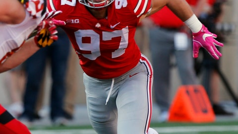 <p>               FILE - In this Oct. 7, 2017, file photo, Ohio State defensive end Nick Bosa plays against Maryland during an NCAA college football game, in Columbus, Ohio. Bosa's college football career is over. The injured All-American defensive end intends to withdraw from Ohio State to spend time rehabilitating and training for an NFL career. He is expected to be a first-round draft pick. No. 2 Ohio State made the announcement on Tuesday, Oct. 16, 2018.. (AP Photo/Jay LaPrete, File)             </p>
