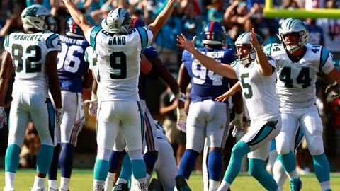 <p>               FILE - In this Oct. 7, 2018, file photo, Carolina Panthers' Graham Gano (9) celebrates his game-winning field goal against the New York Giants in the second half of an NFL football game, in Charlotte, N.C. Gano's 63-yard game-winning field goal on Sunday against the Giants -- the first in the NFL since Tom Dempsey -- held a little extra meaning for the veteran kicker.  (AP Photo/Jason E. Miczek, File)             </p>