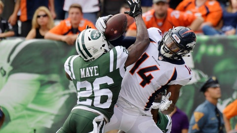 <p>               New York Jets defensive back Marcus Maye (26) breaks up a pass to Denver Broncos' Courtland Sutton (14) during the first half of an NFL football game Sunday, Oct. 7, 2018, in East Rutherford, N.J. (AP Photo/Bill Kostroun)             </p>