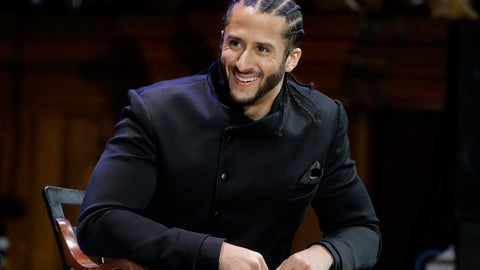 <p>               Former NFL football quarterback Colin Kaepernick is seated on stage during W.E.B. Du Bois Medal ceremonies, Thursday, Oct. 11, 2018, at Harvard University, in Cambridge, Mass. Kaepernick is among eight recipients of Harvard University's W.E.B. Du Bois Medals in 2018. Harvard has awarded the medal since 2000 to people whose work has contributed to African and African-American culture. (AP Photo/Steven Senne)             </p>