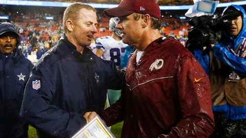 <p>               FILE - In this Oct. 29, 2017, file photo, Dallas Cowboys head coach Jason Garrett, left, greets Washington Redskins head coach Jay Gruden after an NFL football game in Landover, Md. Neither Gruden's Redskins nor Garrett's Cowboys has managed to win two games in a row this season, but both are coming off victories as they renew their NFC East rivalry Sunday. (AP Photo/Patrick Semansky, File)             </p>