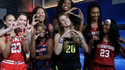 <p>               Utah's Daneesha Provo, far left, and teammate Megan Huff, second from left, pose with Arizona players Sam Thomas, third from top left, and Aarion McDonald, below Thomas, along with Oregon's Ruthy Hebard, top, and Sabrina Ionescu, bottom, and Stanford's Dijonai Carrington, top, and Kiana Williams, bottom,  during NCAA college basketball Pac-12 women's media day in San Francisco, Wednesday, Oct. 10, 2018. (AP Photo/Jeff Chiu)             </p>