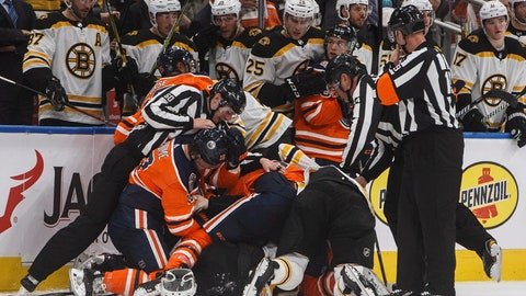 <p>               Boston Bruins' and the Edmonton Oilers' get into a brawl during third period NHL hockey action in Edmonton, Alberta, Thursday Oct. 18, 2018. (Jason Franson/The Canadian Press via AP)             </p>