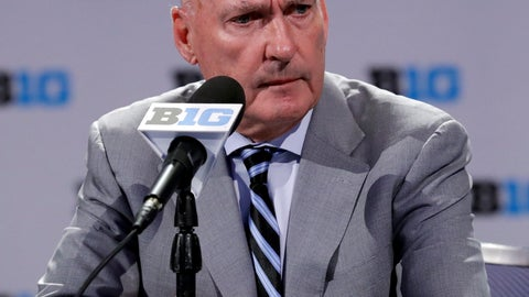 <p>               Big Ten Commissioner Jim Delany listens to a question at a press conference during Big Ten NCAA college basketball media day Thursday, Oct. 11, 2018, in Rosemont, Ill. (AP Photo/Nam Y. Huh)             </p>