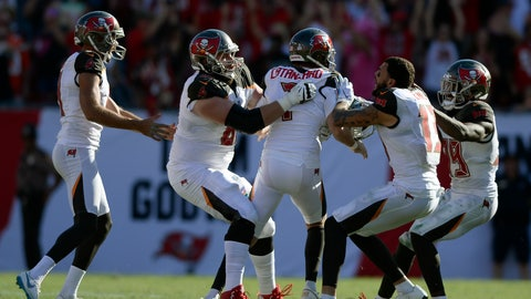 <p>               Tampa Bay Buccaneers kicker Chandler Catanzaro (7) celebrates with teammates after his game-winning 59-yard field goal in overtime of an NFL football game Sunday, Oct. 21, 2018, in Tampa, Fla. (AP Photo/Jason Behnken)             </p>