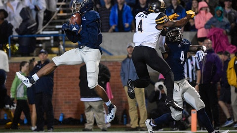 <p>               Georgia Southern safety Darrell Baker Jr. intercepts a pass intended for Appalachian State wide receiver Dominique Heath (4) as cornerback Monquavion Brinson, right, also defends during the first half of an NCAA college football game, Thursday, Oct. 25, 2018, in Statesboro, Ga. (AP Photo/John Amis)             </p>