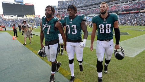 <p>               Philadelphia Eagles defensive end Michael Bennett (77), tight end Josh Perkins (83) and tight end Dallas Goedert (88) leave the field after losing to the Tennessee Titans in overtime of an NFL football game Sunday, Sept. 30, 2018, in Nashville, Tenn. The Titans won 26-23. (AP Photo/Mark Zaleski)             </p>