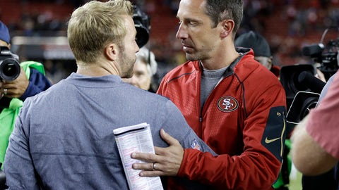 <p>               FILE - In this Sept. 21, 2017 file photo Los Angeles Rams coach Sean McVay, left, greets San Francisco 49ers coach Kyle Shanahan after an NFL football game in Santa Clara, Calif. McVay and Shanahan arrived as head coaches in the NFC West together last year as longtime friends and colleagues tasked with revitalizing struggling franchises. McVay has done a much quicker job overhauling the Rams than Shanahan has with the 49ers. The teams headed in opposite directions meet for the first time this season on Sunday, Oct. 21, 2018 when the Rams (6-0) hope to remain the NFL's only unbeaten team when they visit the struggling 49ers (1-5). (AP Photo/Ben Margot, file)             </p>