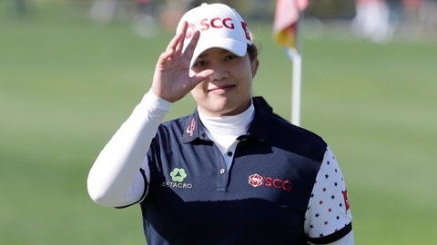 <p>               Ariya Jutanugarn of Thailand gestures on the 18th hole after finishing the second round of the LPGA KEB Hana Bank Championship at Sky72 Golf Club in Incheon, South Korea, Friday, Oct. 12, 2018. (AP Photo/Lee Jin-man)             </p>