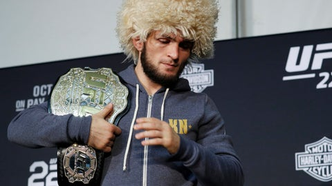 <p>               Khabib Nurmagomedov attends a news conference after the UFC 229 mixed martial arts event Saturday, Oct. 6, 2018, in Las Vegas. A brawl broke out after the main event between Khabib Nurmagomedov and Conor McGregor when Nurmagomedov climbed over the cage and set off a scuffle with another fighter in McGregor's corner. (AP Photo/John Locher)             </p>