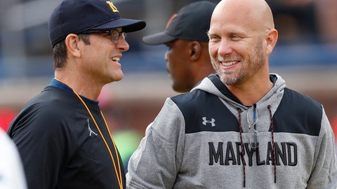 <p>               Michigan head coach Jim Harbaugh, left, talks with Maryland interim head coach Matt Canada during warmups before an NCAA football game in Ann Arbor, Mich., Saturday, Oct. 6, 2018. (AP Photo/Paul Sancya)             </p>