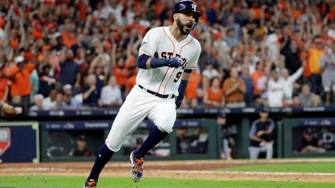 <p>               Houston Astros' Marwin Gonzalez (9) races to first base on a hit against the Cleveland Indians during the sixth inning of Game 2 of a baseball American League Division Series, Saturday, Oct. 6, 2018, in Houston. Two runs scored on the play. (AP Photo/David J. Phillip)             </p>