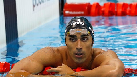 """<p>               FILE - In this Monday, May 16, 2016 filer, Italy's Filippo Magnini reacts after anchoring his team to the silver medal in the final of the Men's 4x100m freestyle relay during the European Aquatics Championships at the London Aquatics Centre in London. Two-time swimming world champion Filippo Magnini will have to wait longer to find out his fate in a doping case for which he risks a ban of eight years. Magnini appeared before a court of Italy's anti-doping agency (NADO) on Monday, Oct. 15, 2018 but at the end of a four-hour hearing, judges ruled that additional time was needed and postponed their decision until Nov. 6. The 36-year-old Magnini, who retired last year, appeared relaxed and said: """"I simply recounted the truth and now I'm calm. I am totally innocent."""" (AP Photo/Matt Dunham, File)             </p>"""