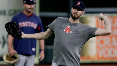 <p>               Boston Red Sox starting pitcher Chris Sale warms up during batting practice before Game 4 of a baseball American League Championship Series against the Houston Astros on Wednesday, Oct. 17, 2018, in Houston. (AP Photo/Frank Franklin II)             </p>