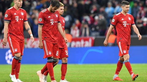 <p>               Bayern players walk off the pitch after a 1-1 draw in the Group E Champions League soccer match between Bayern Munich and Ajax at the Allianz Arena in Munich, Germany, Tuesday, Oct. 2, 2018. (AP Photo/Kerstin Joensson)             </p>