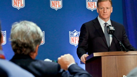 <p>               NFL commissioner Roger Goodell listens during a press conference after the NFL owners meetings, Wednesday, Oct. 17, 2018, in New York. (AP Photo/Bebeto Matthews)             </p>