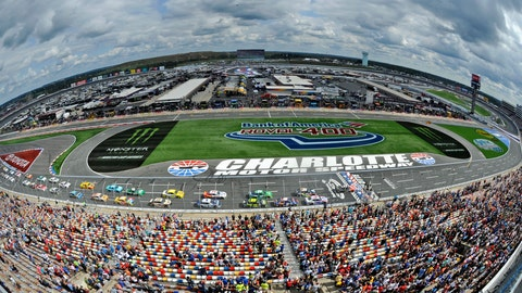 <p>               In this photo shot with a fisheye lens the field take the green flag to start the NASCAR Cup series auto race at Charlotte Motor Speedway in Concord, N.C., Sunday, Sept. 30, 2018. (AP Photo/Mike McCarn)             </p>