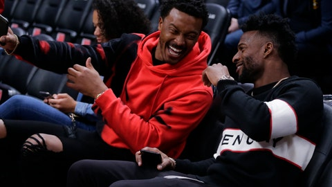 <p>               Denver Broncos' Demaryius Thomas, left and Emmanuel Sanders, right laugh on the court before the start of an NBA basketball game between the Denver Nuggets and the Golden State Warriors, Sunday, Oct. 21, 2018, in Denver. (AP Photo/Jack Dempsey)             </p>