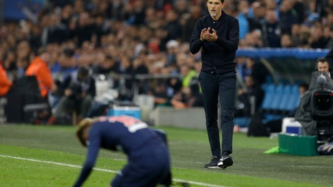 <p>               PSG's coach Thomas Tuchel supports PSG's Neymar during the French League One soccer match between Paris-Saint-Germain and Marseille at the Velodrome Stadium in Marseille, France, Sunday, Oct. 28, 2018. (AP Photo/Claude Paris)             </p>