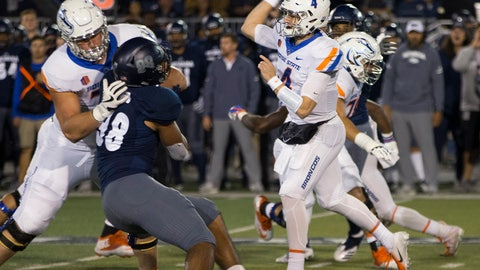 <p>               Boise State quarterback Brett Rypien (4) throws a pass against Nevada during the first half of an NCAA college football game in Reno, Nev., Saturday, Oct. 13, 2018. (AP Photo/Tom R. Smedes)             </p>