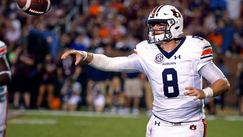 <p>               Auburn quarterback Jarrett Stidham (8) throws a pass against Mississippi State during the second half of their NCAA college football game in Starkville, Miss., Saturday, Oct. 6, 2018. Mississippi State won 23-9. (AP Photo/Rogelio V. Solis)             </p>