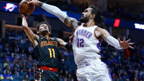 <p>               FILE - In this Oct. 7, 2018, file photo, Oklahoma City Thunder center Steven Adams (12) blocks a shot by Atlanta Hawks guard Trae Young (11) in the first half of an NBA preseason basketball game in Tulsa, Okla. The narrative on the demise of the big man in the NBA may have been a bit premature. At the very least it has been misinterpreted. Their roles have been defined, but Steven Adams, DeMarcus Cousins, Anthony Davis, Nikola Jokic, Clint Capela and others have shown teams still covet a dominant center. (AP Photo/Sue Ogrocki, File)             </p>