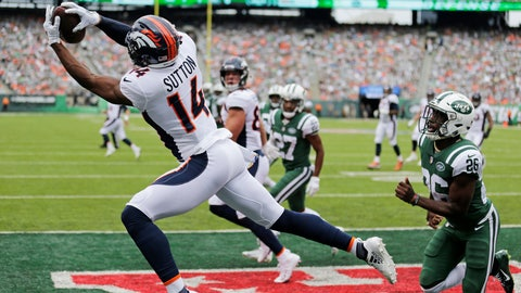 <p>               Denver Broncos' Courtland Sutton (14) catches a pass for a touchdown during the first half of an NFL football game against the New York Jets Sunday, Oct. 7, 2018, in East Rutherford, N.J. (AP Photo/Seth Wenig)             </p>