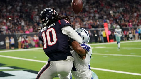 <p>               Dallas Cowboys cornerback Byron Jones, right, breaks up a pass in the end zone intended for Houston Texans wide receiver DeAndre Hopkins (10) during the second half of an NFL football game, Sunday, Oct. 7, 2018, in Houston. Defensive interference was called on the play. (AP Photo/David J. Phillip)             </p>