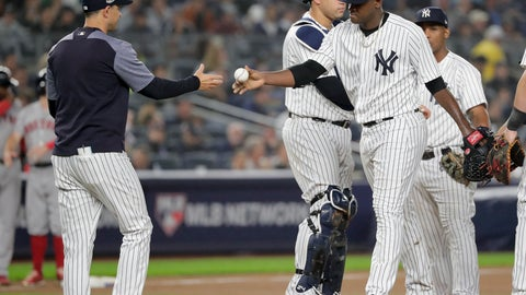 <p>               New York Yankees starting pitcher Luis Severino, right, hands the ball to manager Aaron Boone as he leaves the game during the fourth inning of Game 3 of baseball's American League Division Series against the Boston Red Sox, Monday, Oct. 8, 2018, in New York. (AP Photo/Frank Franklin II)             </p>