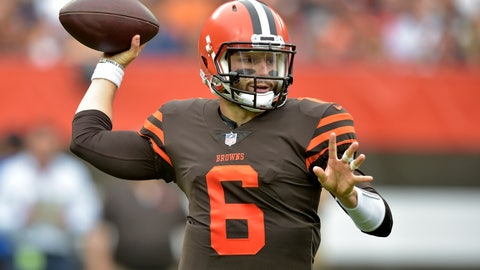 <p>               Cleveland Browns quarterback Baker Mayfield throws during the first half of an NFL football game against the Baltimore Ravens, Sunday, Oct. 7, 2018, in Cleveland. (AP Photo/David Richard)             </p>