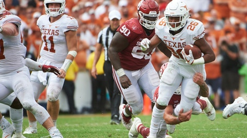 <p>               Texas running back Keaontay Ingram (26) breaks free against Oklahoma during the second half of an NCAA college football game at the Cotton Bowl, Saturday, Oct. 6, 2018, in Dallas. (AP Photo/Cooper Neill)             </p>